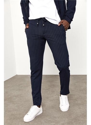 XHAN Lacivert Beli Bağcıklı Çizgili Kumaş Pantolon  Lacivert